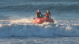 SYDNEY, AUSTRALIA - 2018 Inflatable Rescue Boat (IRB) Surf lifesaving lifeguard