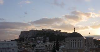 Time Lapse Athens Greece Day to Night Parthenon temple on Athenian Acropolis