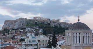 Time Lapse Athens Greece Morning Parthenon temple on Athenian Acropolis