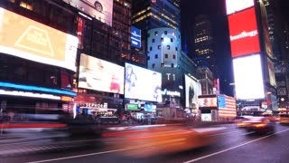 Times Square Night Traffic Cars New York Ny Time Lapse