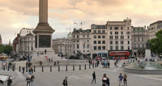 Trafalgar Square Time-lapse Central London City of Westminster England