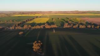 Twilight sunset aerial footage of crop field agriculture farmland Australia