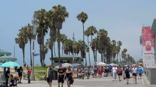 VENICE BEACH, LOS ANGELES, CALIFORNIA - CIRCA 2018: People walking