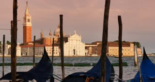 Venice Italy - gondola on canal afternoon sunset