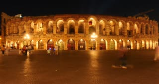 Verona Arena, Verona city on Adige river in Veneto, Italy - timelapse night