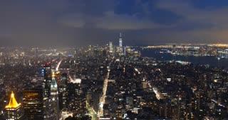 View over Ney York City at night skyline timelapse