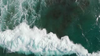 Waves breaking aerial top views breaking beautiful seascape - Slow motion