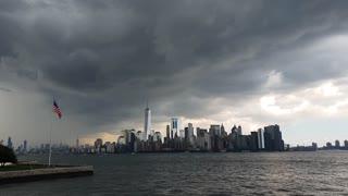 Weather over Manhattan, New York city skyline from Ellis Island