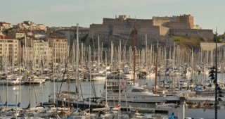 Yachts in the port of Marseille city southern France Europe