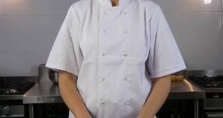 Young female restaurant chef working in kitchen cooking food