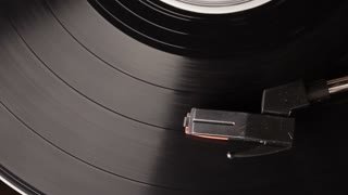 vinyl record played on vintage record turntable player