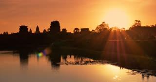Warm Sunrise Angkor Wat Cambodia ancient stone ruin temple