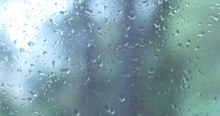 Water Rain drops on window glass wet weather