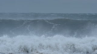 Wild weather big ocean sea waves from climate change effects