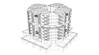 360 view building wirefame, construction, plan, technical.
