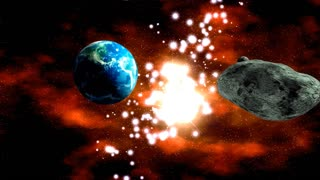3d animation an asteroid nearing earth.