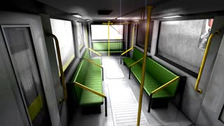 3d animation, empty metro train.