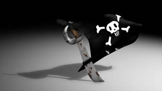 3d animation, pirate flag, alpha channel included.