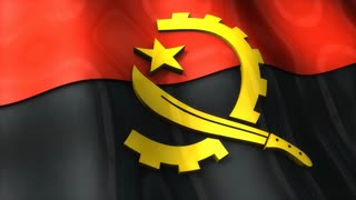 3D flag, Angola, waving, ripple, Africa, Middle East.