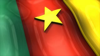3D flag, Cameroon, waving, ripple, Africa, Middle East.