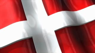 3D flag, Denmark, waving, ripple, Europe.