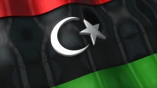 3D flag, Libya, waving, ripple, Africa, Middle East.