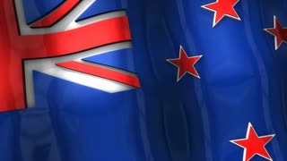 3D flag, New Zealand, waving, ripple, Asia, Oceania.