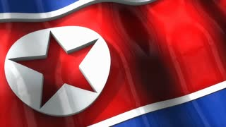 3D flag, North Korea, waving, ripple, Asia.