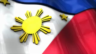 3D flag, Philippines, waving, ripple, Asia.