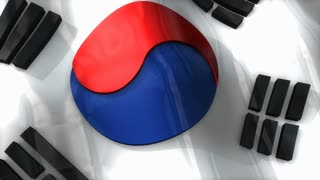 3D flag, South Korean, waving, ripple, Asia.