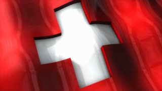 3D flag, Switzerland, waving, ripple, Europe.