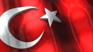 3D flag, Turkey, waving, ripple, Europe.