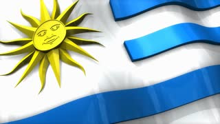 3D flag, Uruguay, waving, ripple, South America.