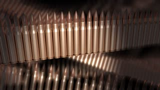 Abstract bullet animation, 5.56mm bullets, ammunition, gun, fired.