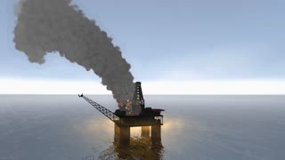 accident, damage, fire, burn, offshore, platform, pollution, rig, smoke