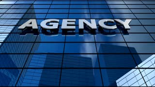 Agency building blue sky timelapse.