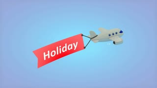 Airplane on blue background with text on flag, Holiday.
