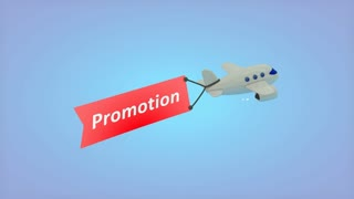 Airplane on blue background with text on flag, Promotion.