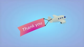 Airplane on blue background with text on flag, Thank you.