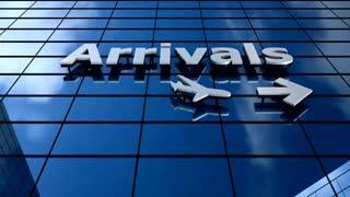 Airport Arrivals building blue sky timelapse.