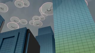 Alien invasion, concept, city, ship, flying, attack.