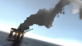 Animation, Offshore oil platform caught fire.