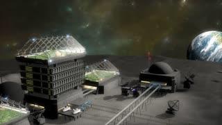 Artist concept, moon base.