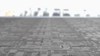 Artist concept rendering close up silicon chip production.