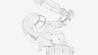 Artist creation heavy industry robotic arm exibition, wireframe mode.