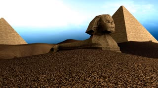 Artist recreation of Great sphnix of Giza.