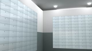 Artist rendering bank safe deposit box.