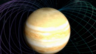 Artist rendering, Jupiter magnetic field.