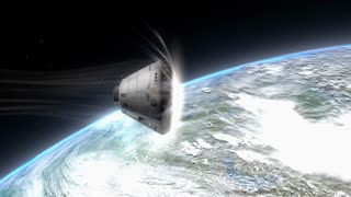 Artist rendering, Space capsule descending to Earth.