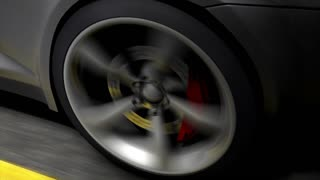 Automotive animation, close-up spinning rear car wheel